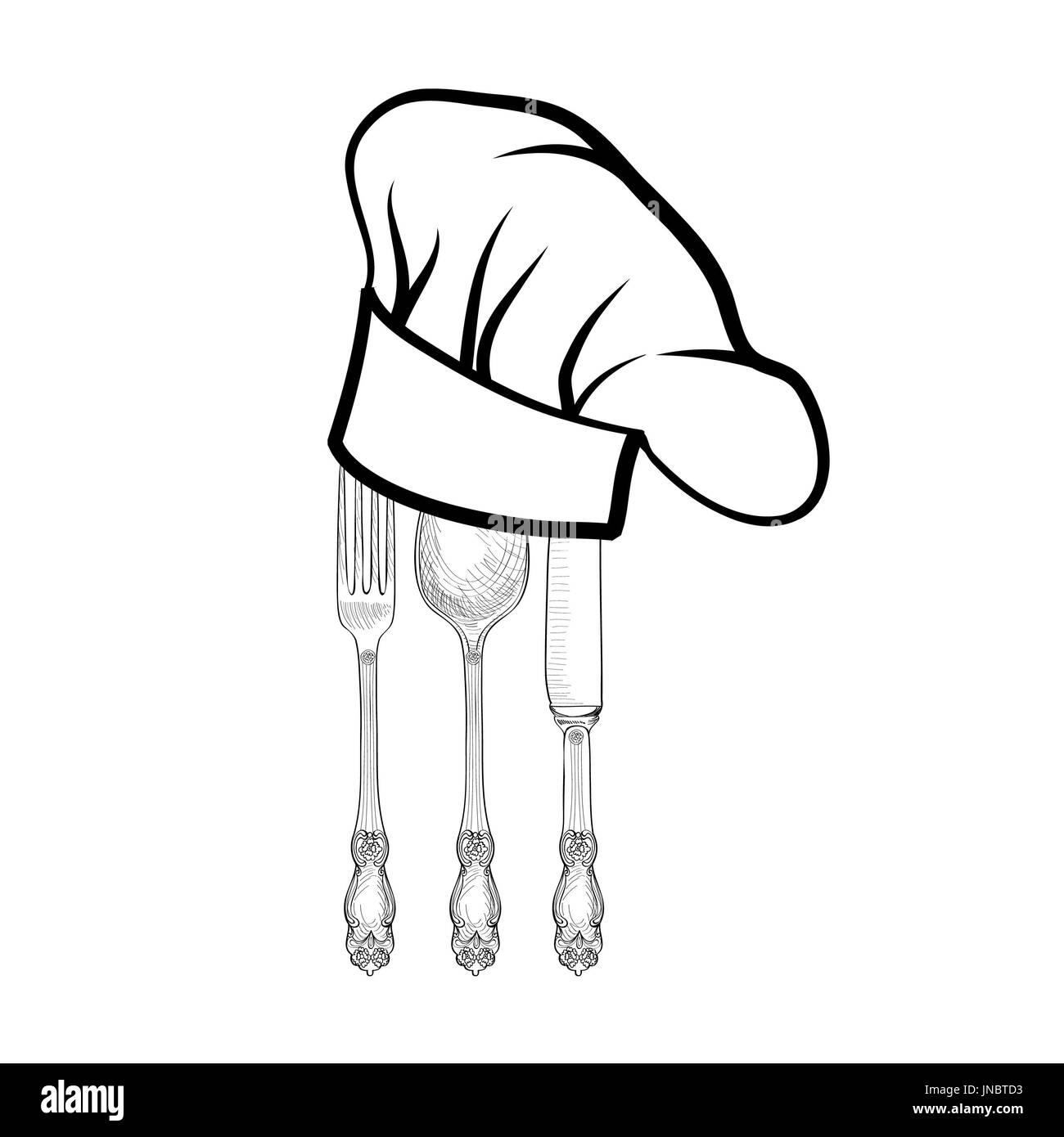 Chef cook hat with fork, spoon and knife hand drawing sketch label. Cutlery icon. Vector Catering and restaurant service insignia. Restaurant symbol c - Stock Image