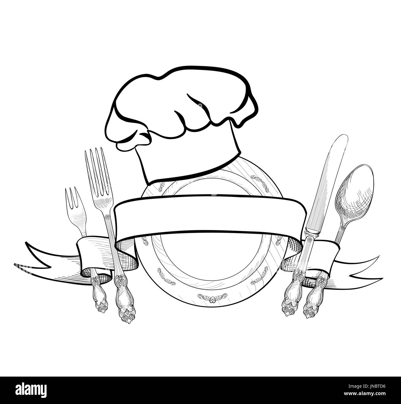 Chef cook hat with fork, spoon, knife and  plate hand drawing sketch label. Cutlery icon. Vector Catering and restaurant service insignia. Restaurant  - Stock Image