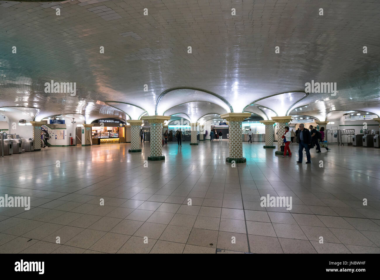 the indoor view of the Saint Lazare metro Station in Paris - Stock Image
