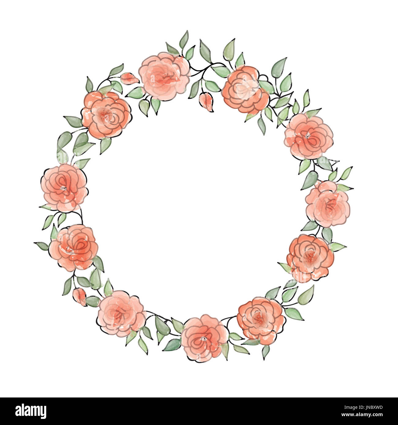 Watercolor flower vector round watercolor stock photos watercolor floral frame summer flower bouquet greeting card background stock image izmirmasajfo