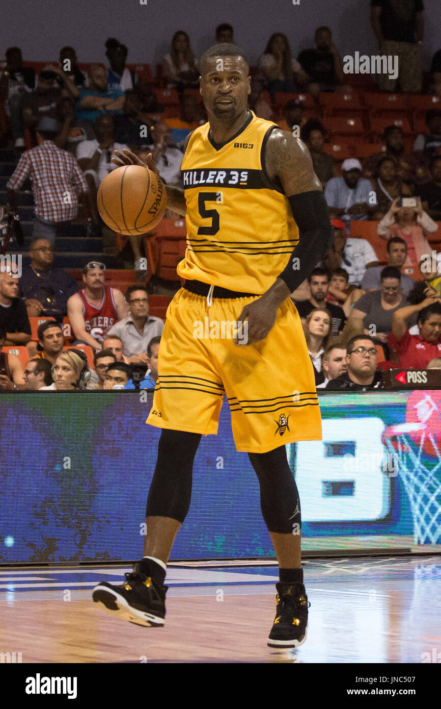 Stephen Jackson #5 Killer 3s dribbles towards basket after ref passes him ball during Game #4 against Ghost Ballers Big3 Week 5 3-on-3 tournament UIC Pavilion July 23,2017 Chicago,Illinois. - Stock Image