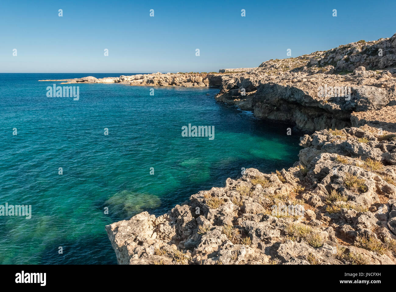 Coastline in the natural reserve of Plemmirio, near Siracusa (eastern Sicily) - Stock Image