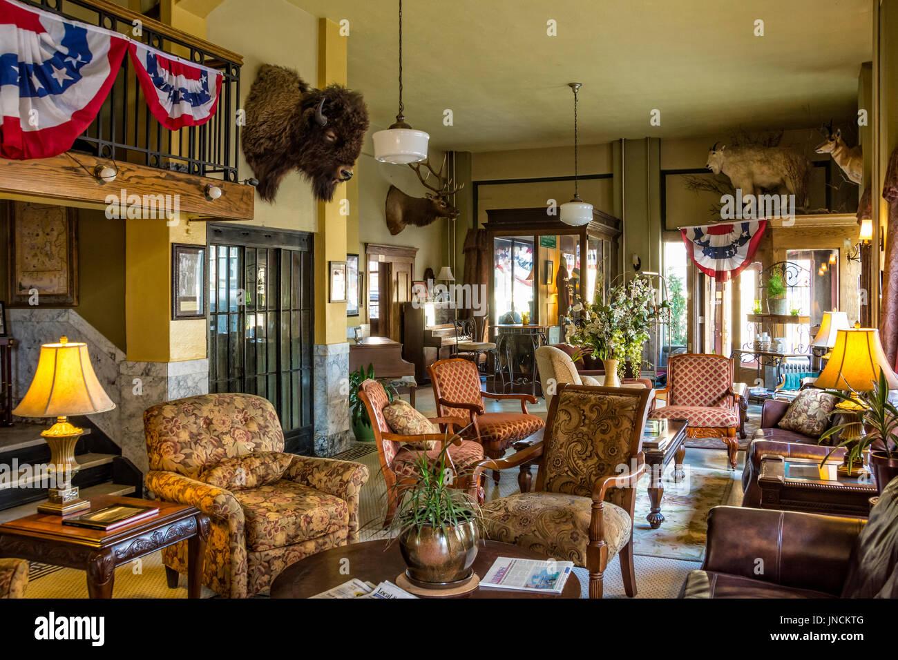 Lobby of the historic Murray Hotel in Livingston, Montana. - Stock Image