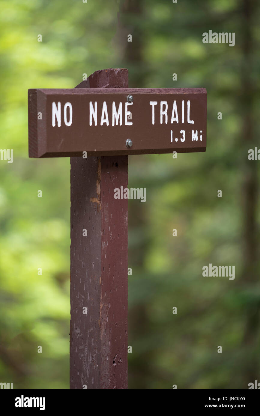 No Name Trail sign, Oregon Caves National Monument, Oregon. - Stock Image