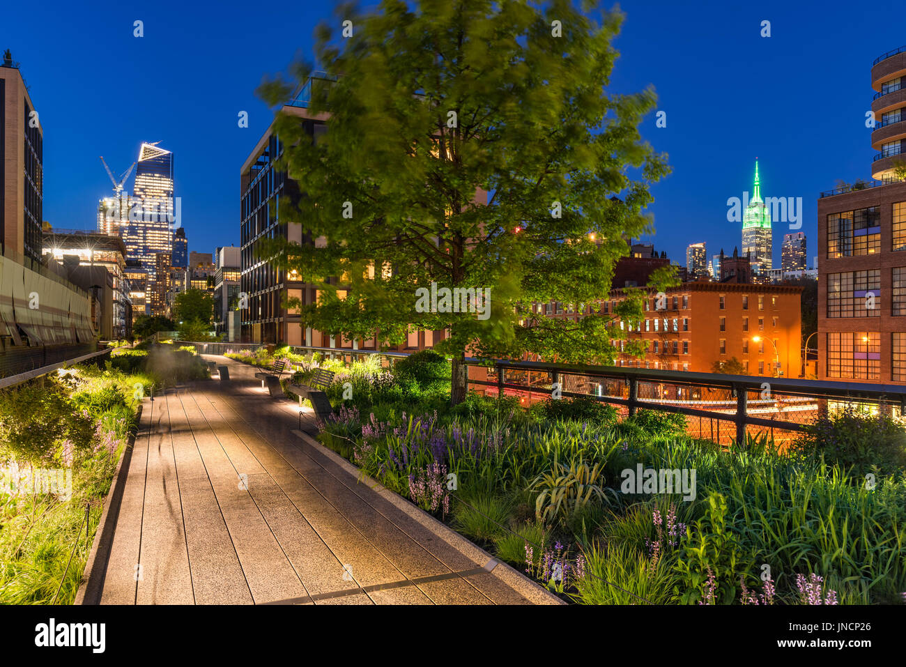 High Line promenade at twilight with city lights and illuminated skyscrapers. Chelsea, Manhattan, New York City - Stock Image