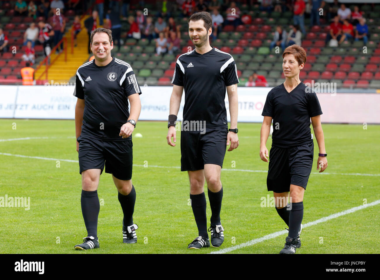sports,football,Regional League West,2017/2018,Rot Weiss Oberhausen vs SV Westfalia Rhynern 2:1,Stadium Niederrhein in Oberhausen,match officials,f.l.t.r. assistant David Hennig,referee Selim Erk,assistant Marina Wozniak - Stock Image
