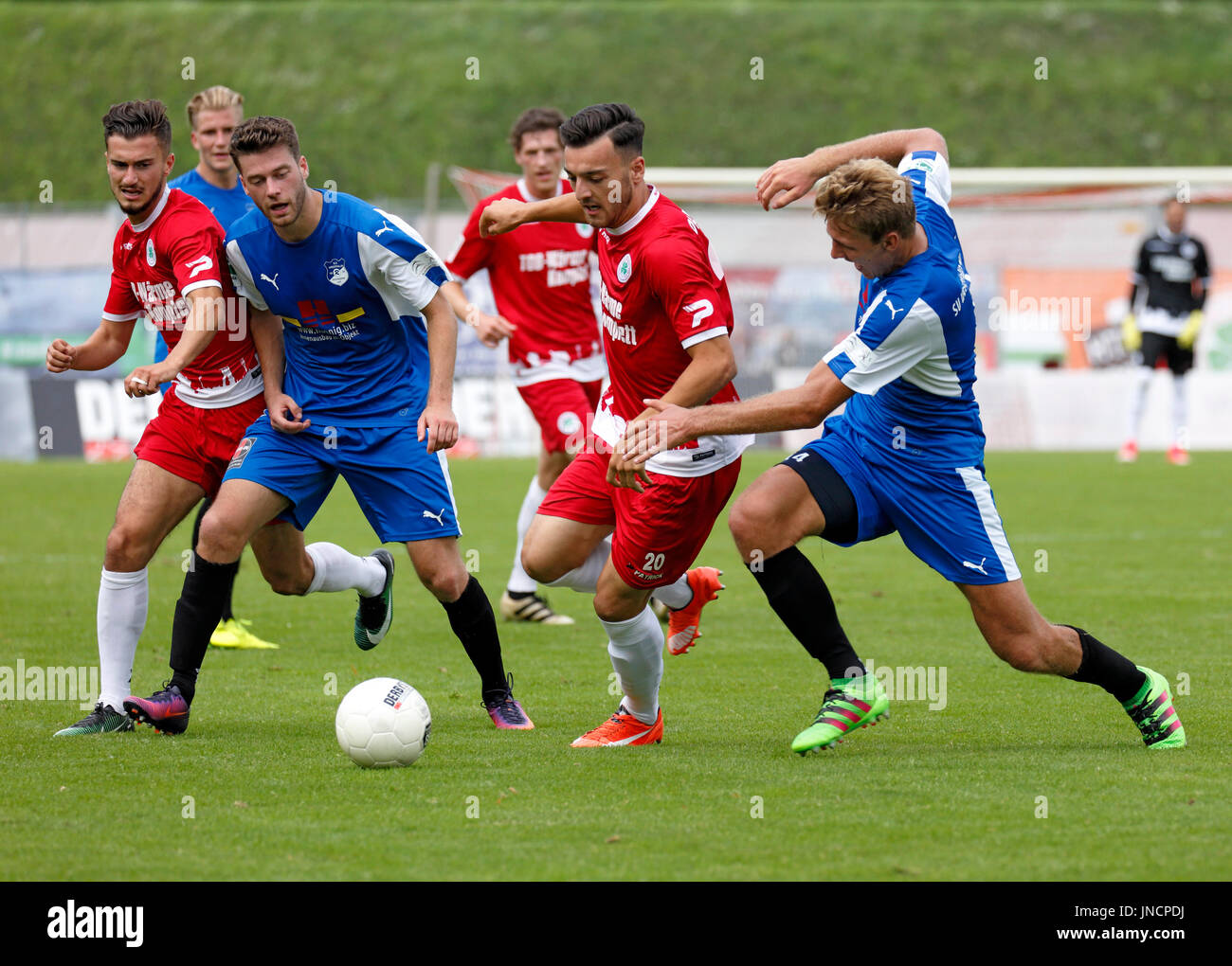 sports,football,Regional League West,2017/2018,Rot Weiss Oberhausen vs SV Westfalia Rhynern 2:1,Stadium Niederrhein in Oberhausen,scene of the match,f.l.t.r. Enes Topal (RWO),Nils Hoenicke (Rhynern),Jan Kleine (Rhynern),Robert Flessers (RWO),Tarik Kurt (RWO),Patrick Polk (Rhynern) - Stock Image