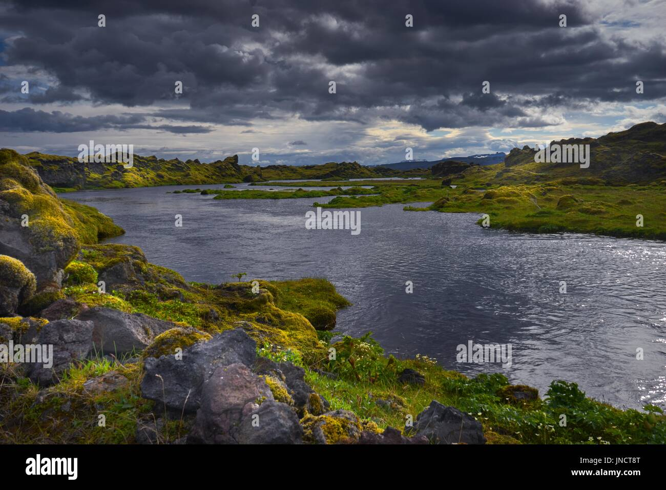 The river Skaftá near the Laki volcano in the south of iceland - Stock Image
