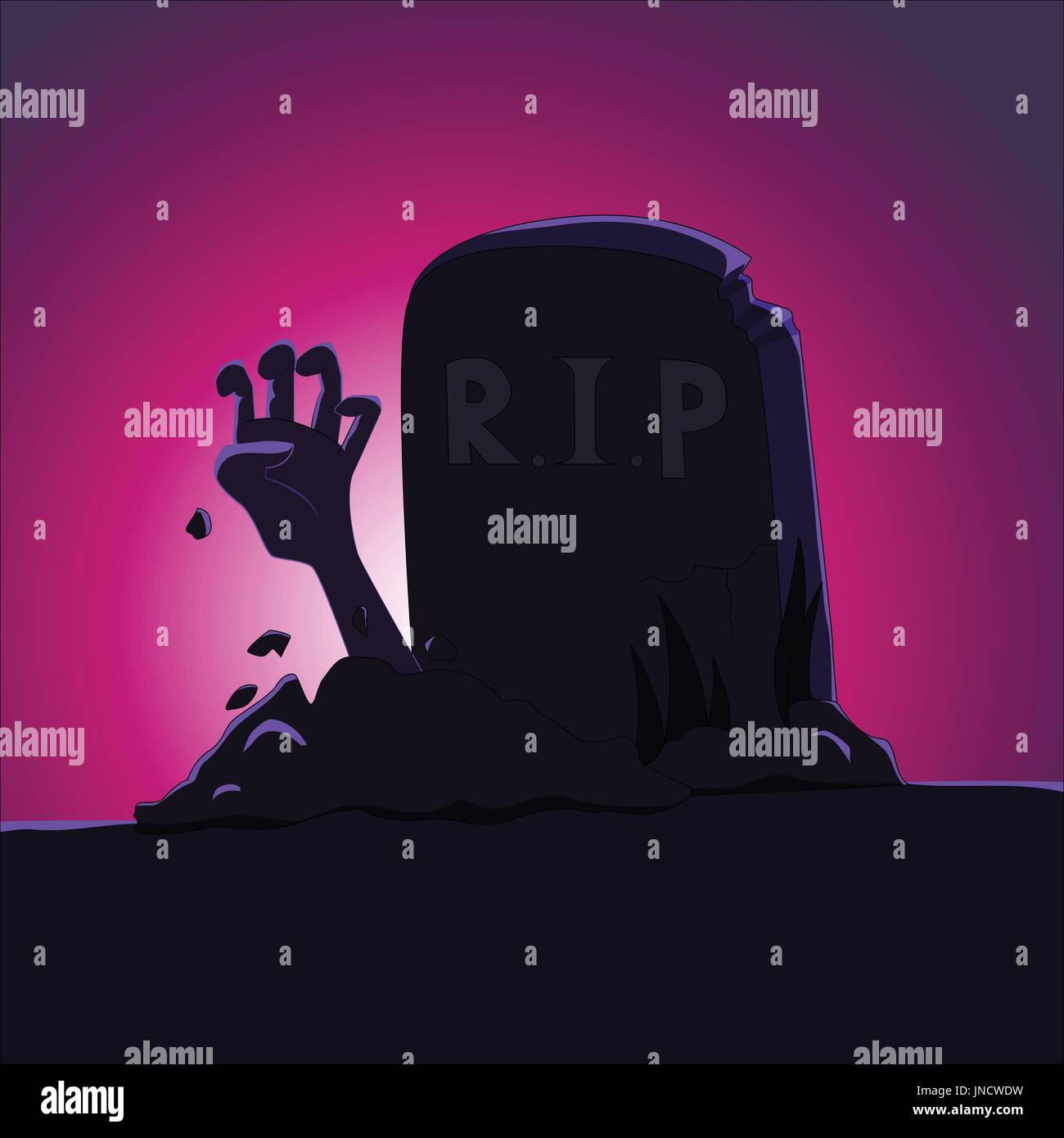 Zombie's hand rising from grave - cartoon vector illustration - Stock Vector