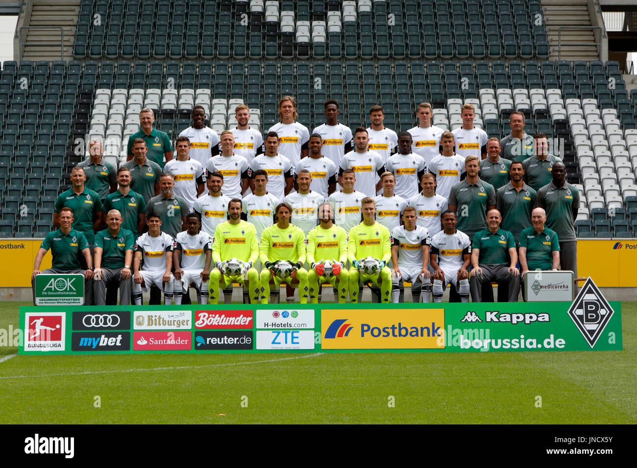 football,Bundesliga,2017/2018,team shot Borussia Moenchengladbach,row1f.a. f.l.t.r. team doctor Dr. Hertl,Zakaria,Kramer,Vestergaard,Oxford,Strobl,Ginter,Elvedi,head of medicine and prevention Dr. Schlumberger,row2f.a. f.l.t.r. assistant coach Geideck,goalkeeping coach Kamps,Hofmann,Wendt,Kolodziejczak,Yeboah,Drmic,Doucoure,Cuisance,assistant coach Bremser,head coach Hecking,row3f.a. f.l.t.r. physiotherapist Dirk Mueller,physiotherapist Bohnen,rehab coach Bluhm,Grifo,Stindl,Johnson,Benes,Herrmann,Jantschke,fitness coach Markus Mueller,fitness coach Mouhcine,c - Stock Image