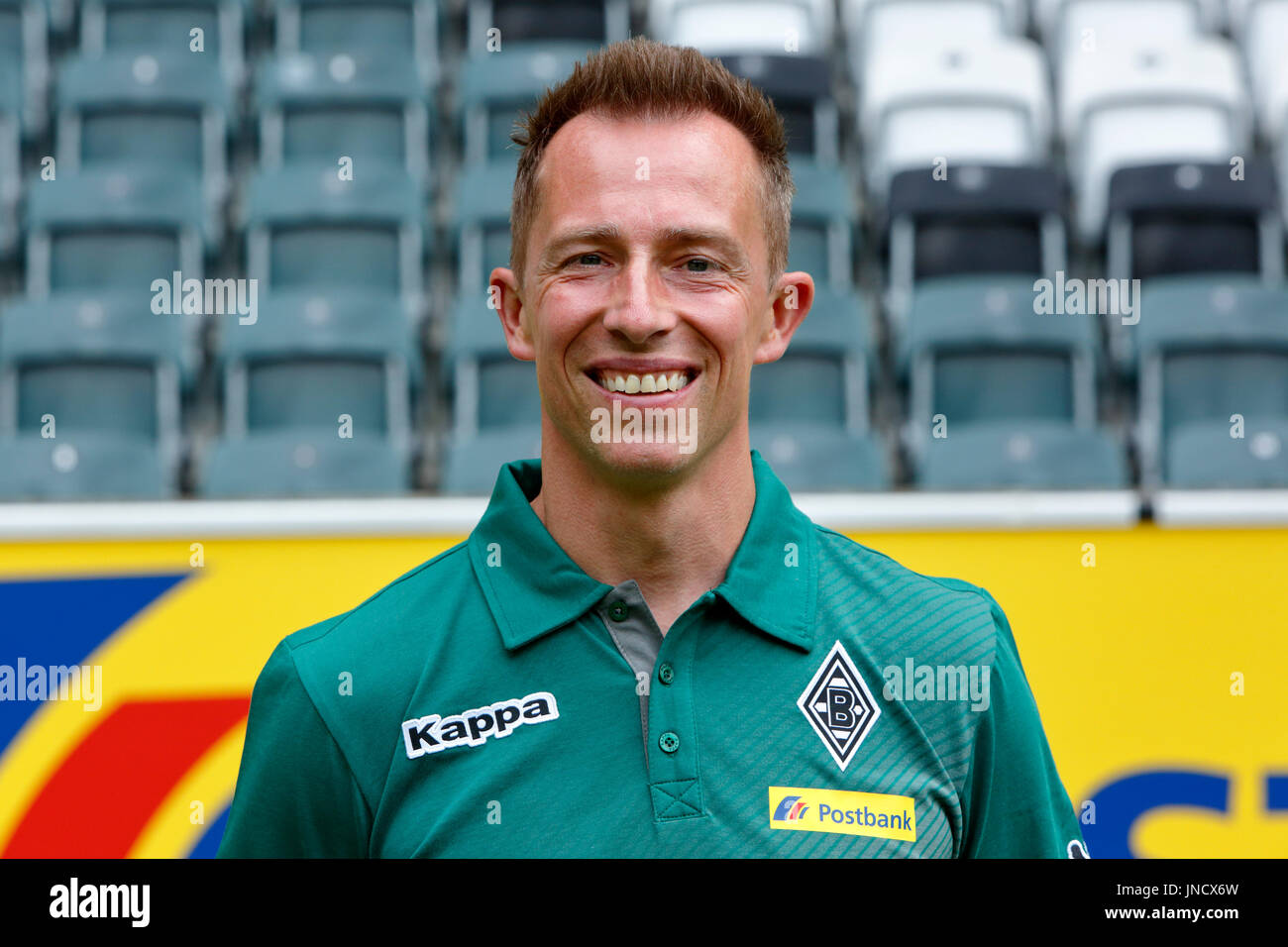 football,Bundesliga,2017/2018,Borussia Moenchengladbach,press photo shooting,portrait,physiotherapist Adam Szordykowski - Stock Image