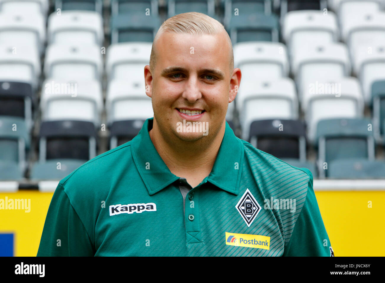 football,Bundesliga,2017/2018,Borussia Moenchengladbach,press photo shooting,portrait,kitman Christian Rieger - Stock Image