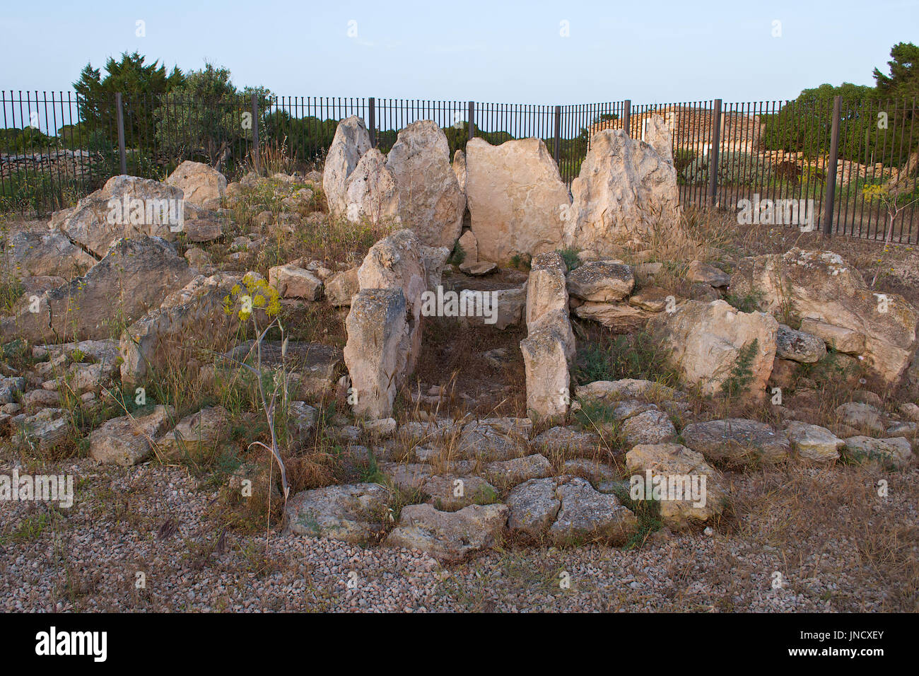 View of the Ca Na Costa Megalithic Site at Ses Salines Natural Park at Formentera (Balearic Islands, Spain) - Stock Image
