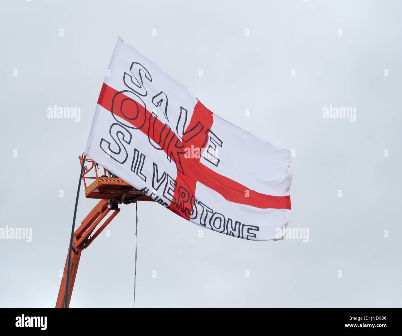 SaveOurSilverstone Flag, F1 Circuit July 2017 - Stock Image
