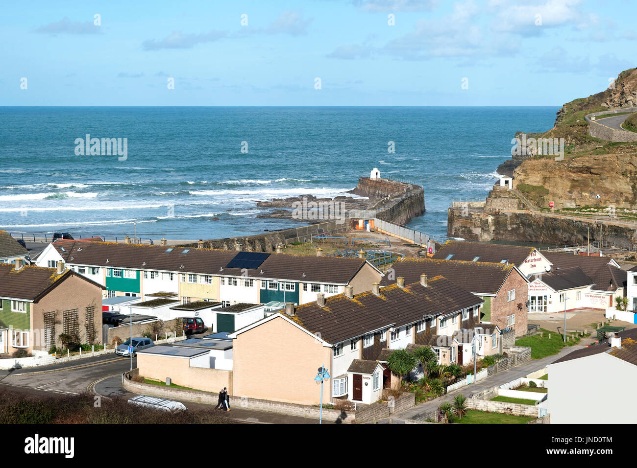 homes in the coastal village of portreath, cornwall, england, uk. - Stock Image