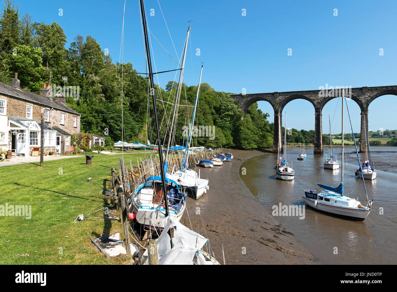 the quay on the river tiddy at st,germans in cornwall, england, uk. - Stock Image