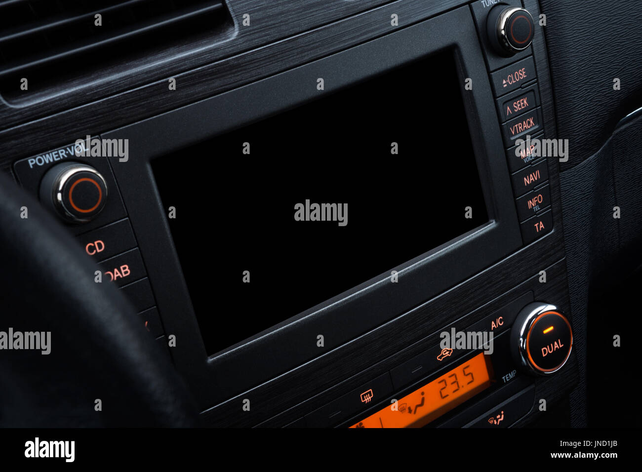 Modern car interior design; Car console with board computer, touch screen for multimedia and navigation system mockup. Closeup view - Stock Image