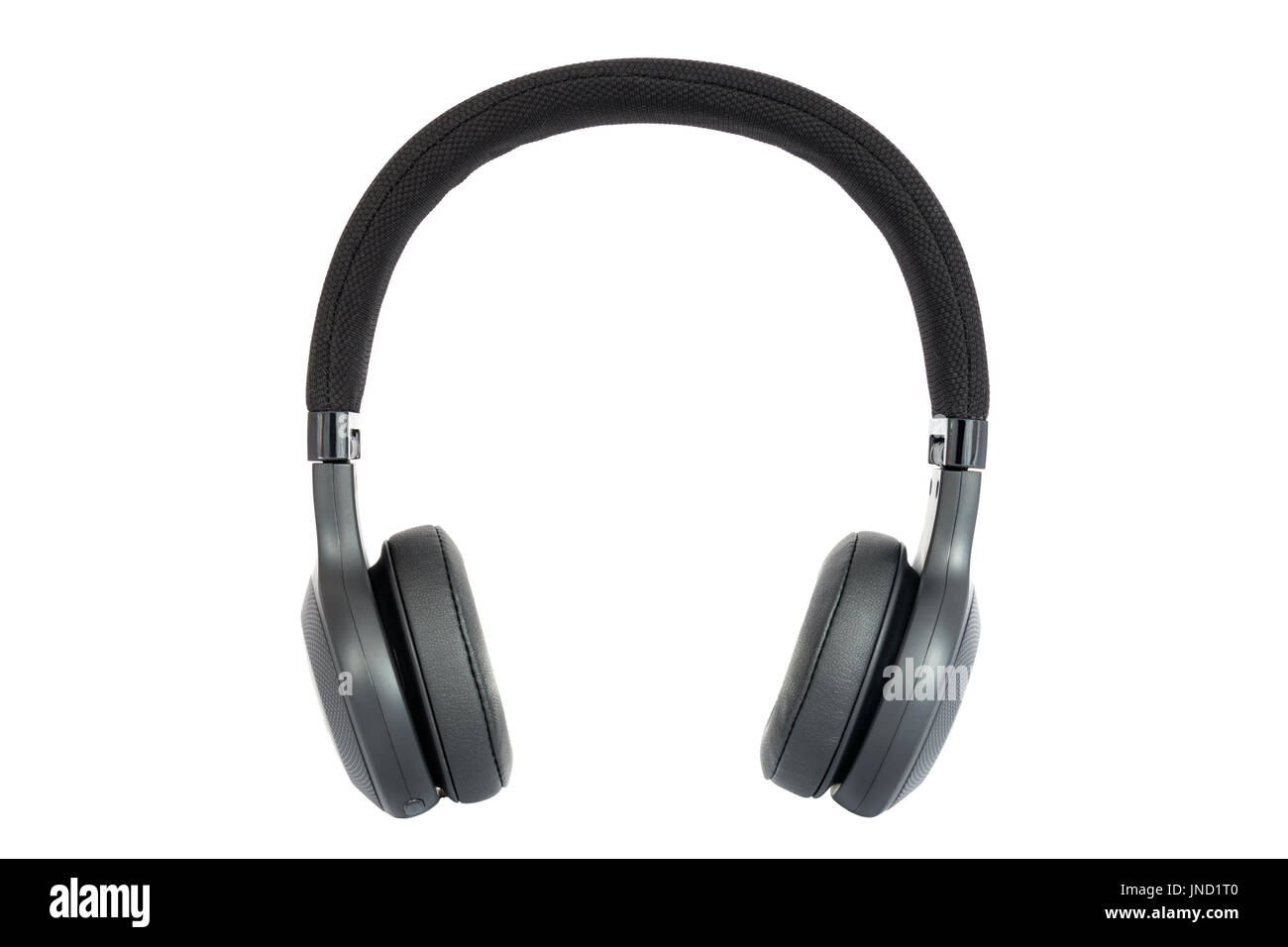 Headphones. Isolated black headphones. Front view. Isolated on white background - Stock Image