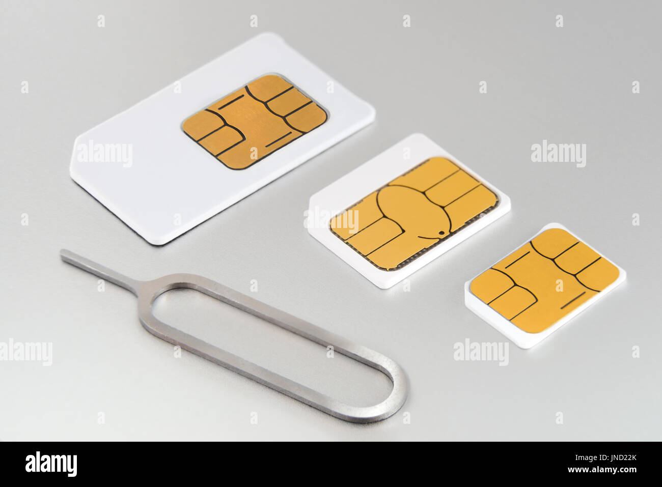 Three types of GSM SIM cards: Mini SIM, Micro SIM and Nano SIM. Compatibility issue on many smartphones. Subscriber Identification Module - Stock Image