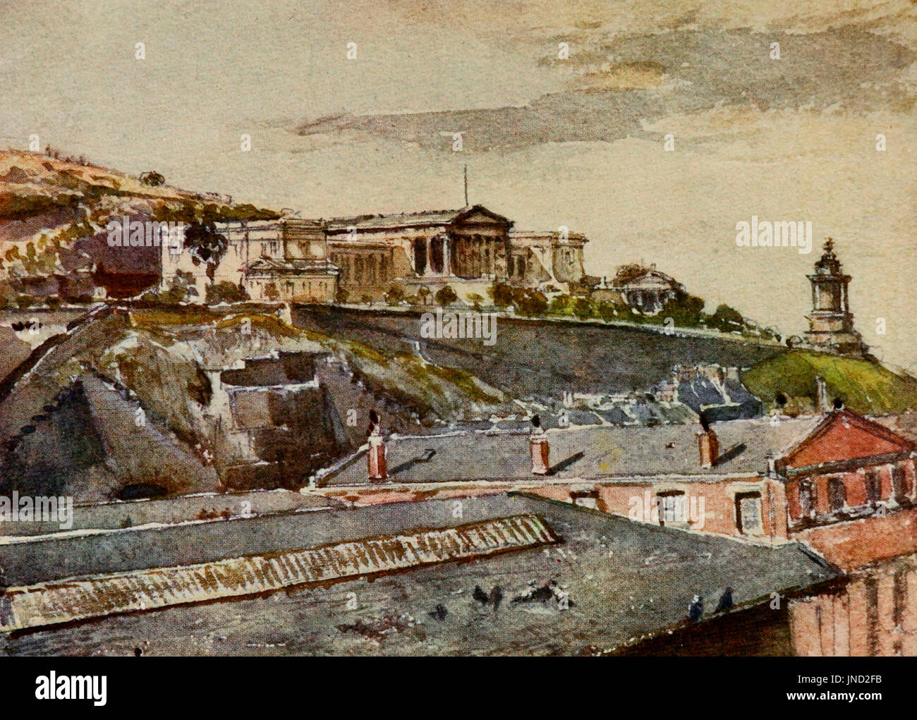 The High School and Burns Monument from Jeffrey Street. Edinburgh, Scotland, circa 1905 - Stock Image