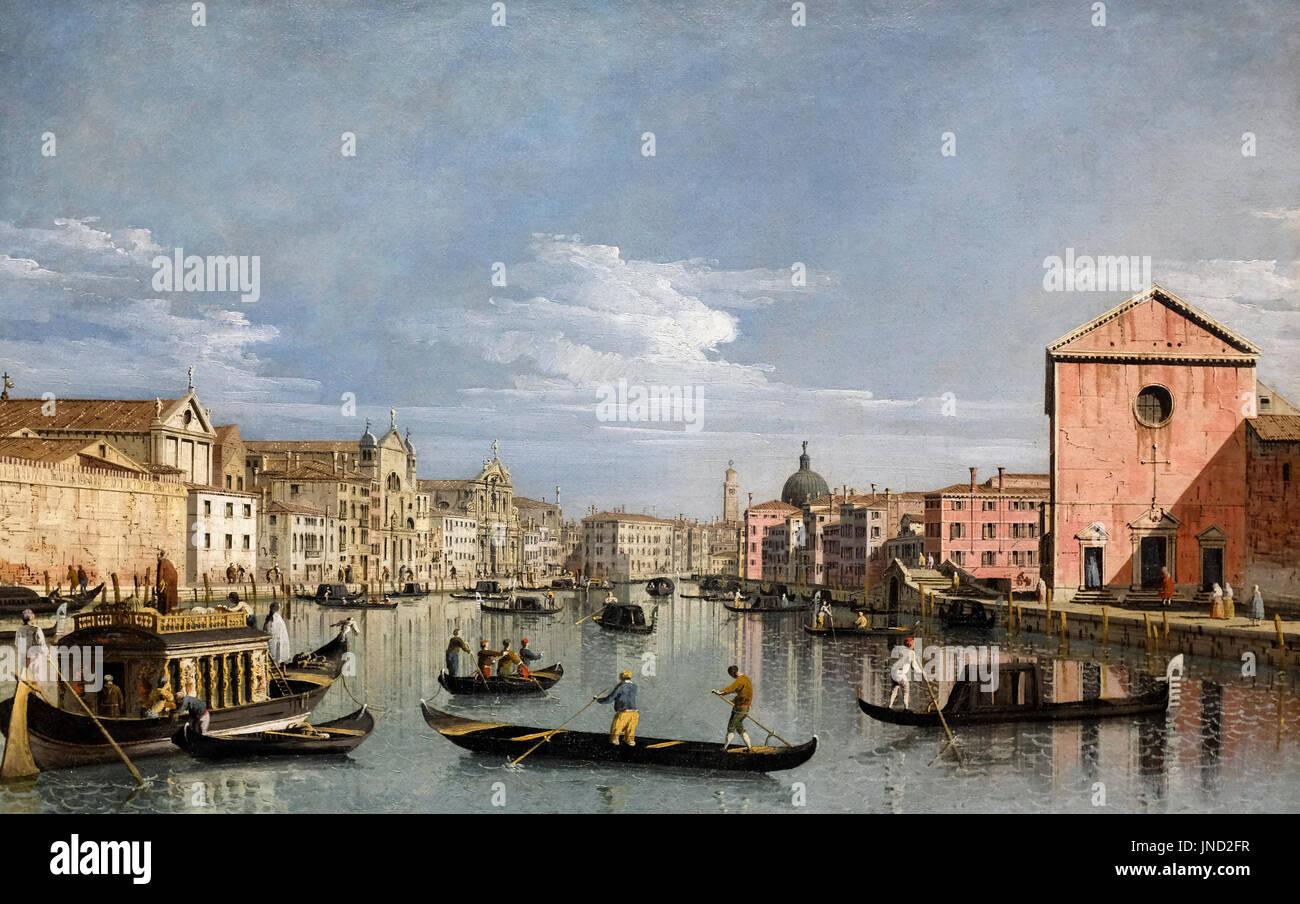 Venice: Upper Reaches of the Grand Canal facing Santa Croce, circa 1740 - Bernardo Bellotto - Stock Image