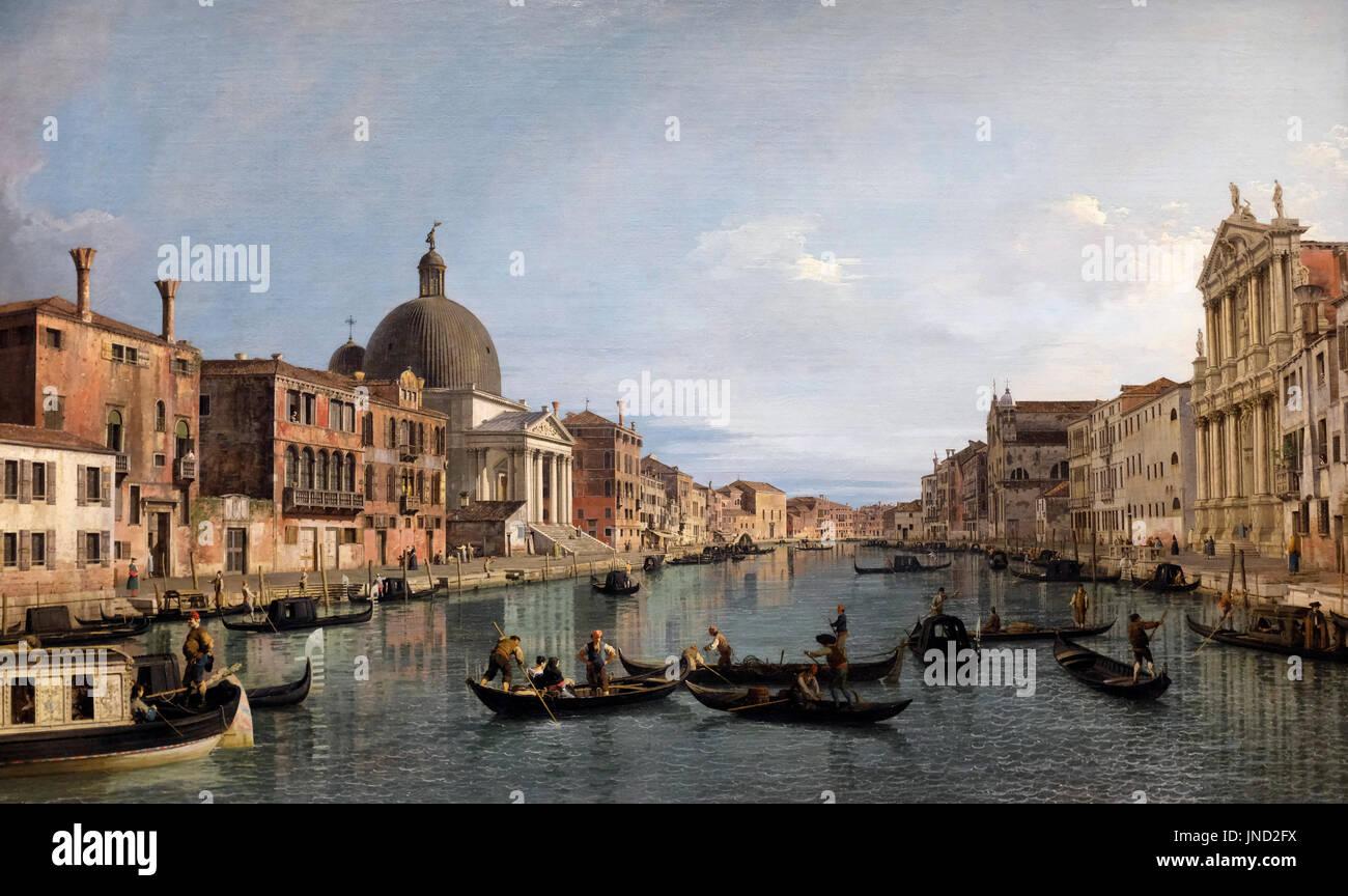Venice - The Grand Canal with S. Simeone Piccolo, circa 1740 -  Canaletto - Stock Image