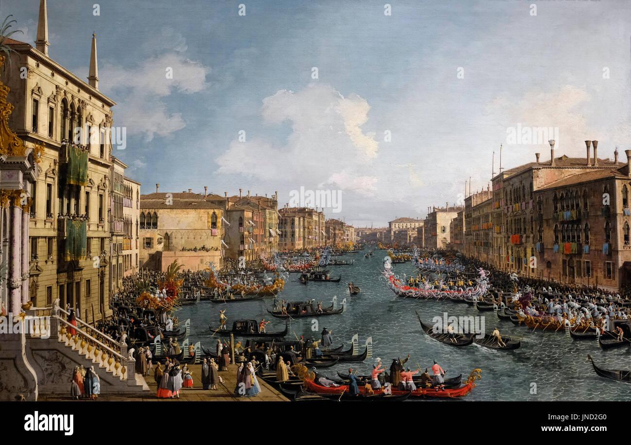 A Regatta on the Grand Canal, circa 1740 - Canaletto - Stock Image