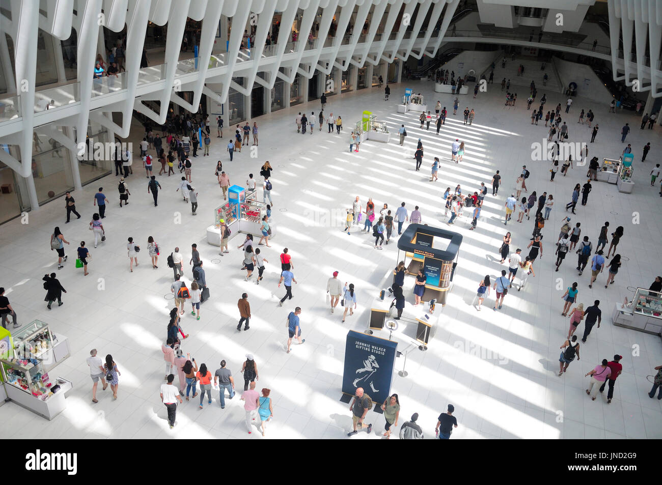 June 11, 2017.  New York City, New York.  People walking around within the newly completed world trade center transportation hub building Manahattan - Stock Image