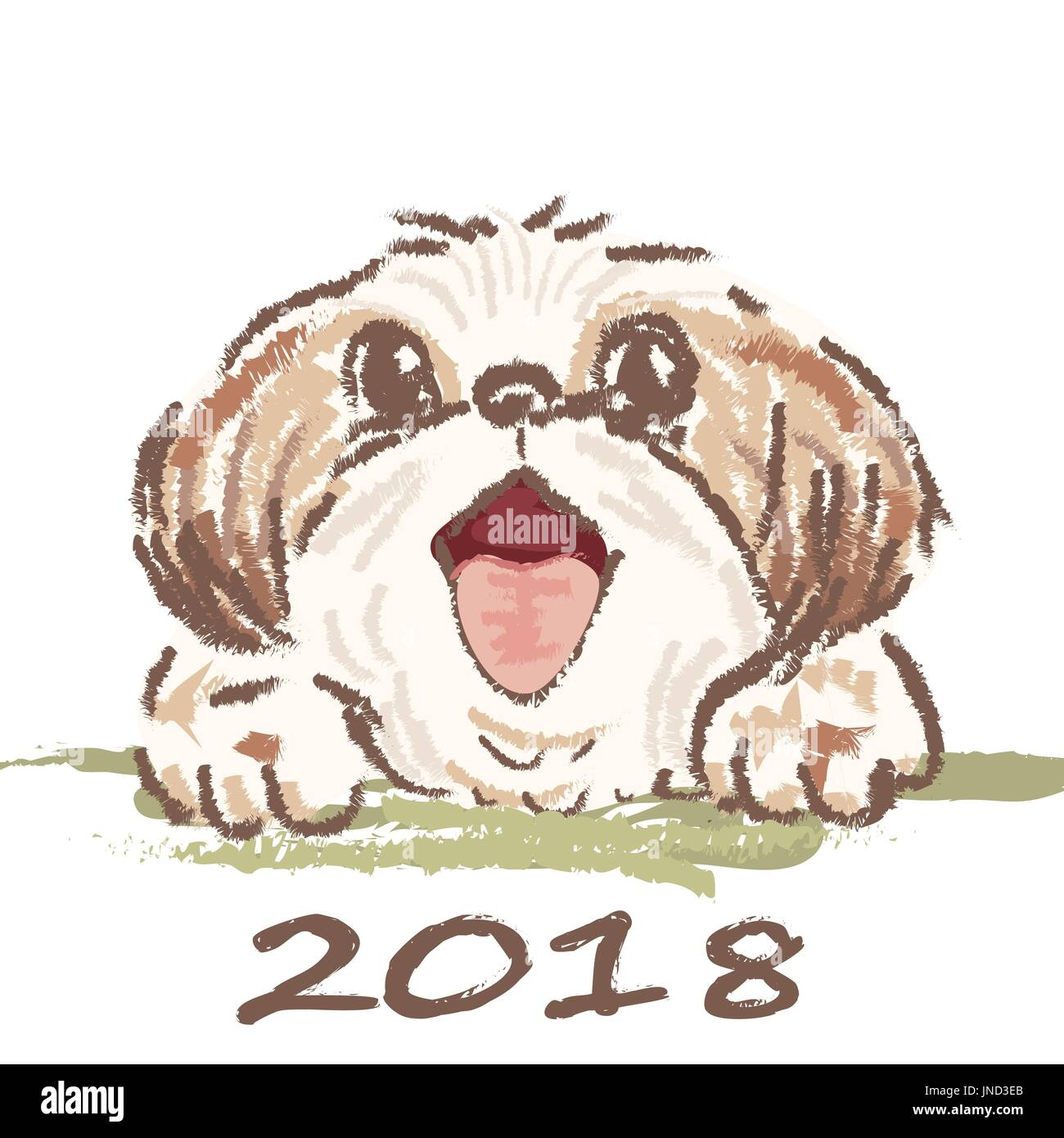 Christmas card  Funny portrait of a dog  2018 year of the