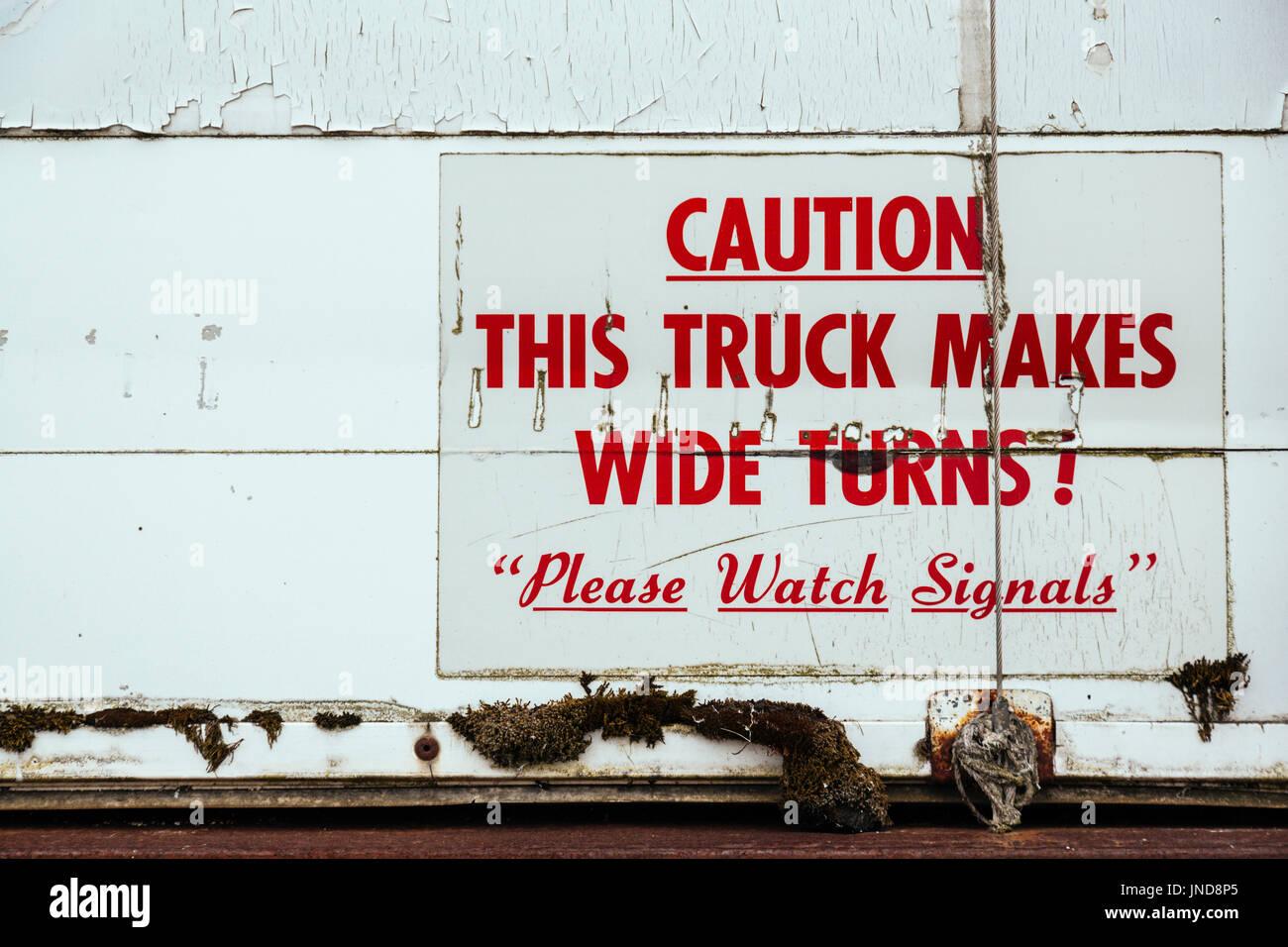 Red writings on a truck, Homer Spit, Homer, Kenai Peninsula, Alaska, USA - Stock Image