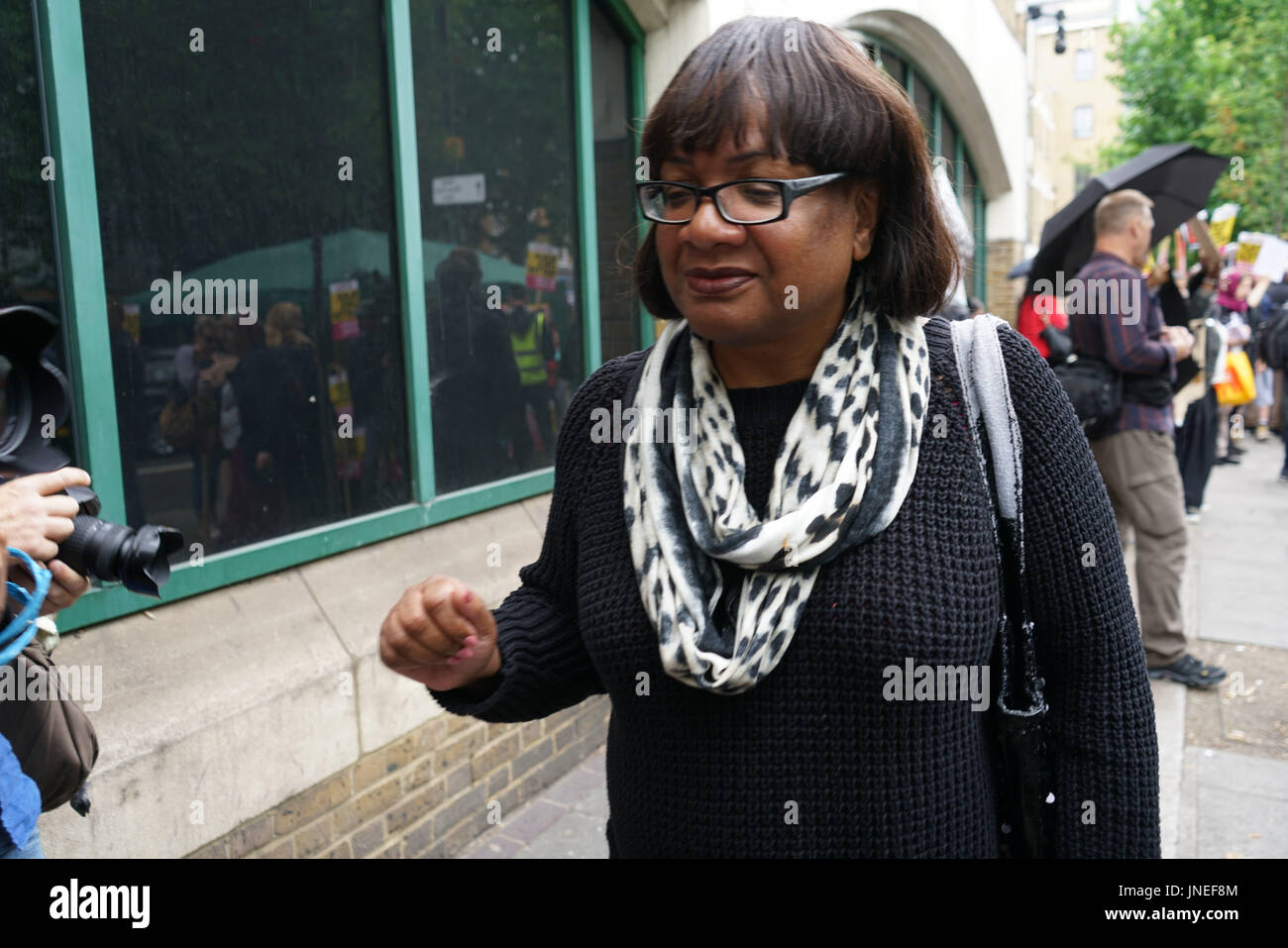 Stoke Newington Police, London, England, UK. 29th July, 2017. Diane Abbott leaving after a speaks at Justice For - Stock Image