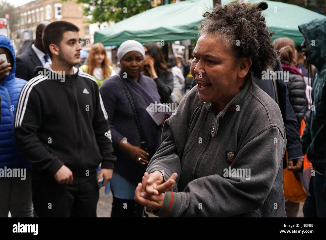 Stoke Newington Police, London, England, UK. 29th July, 2017. Stand Up To Racism hosts a Justice For Rashan and - Stock Image