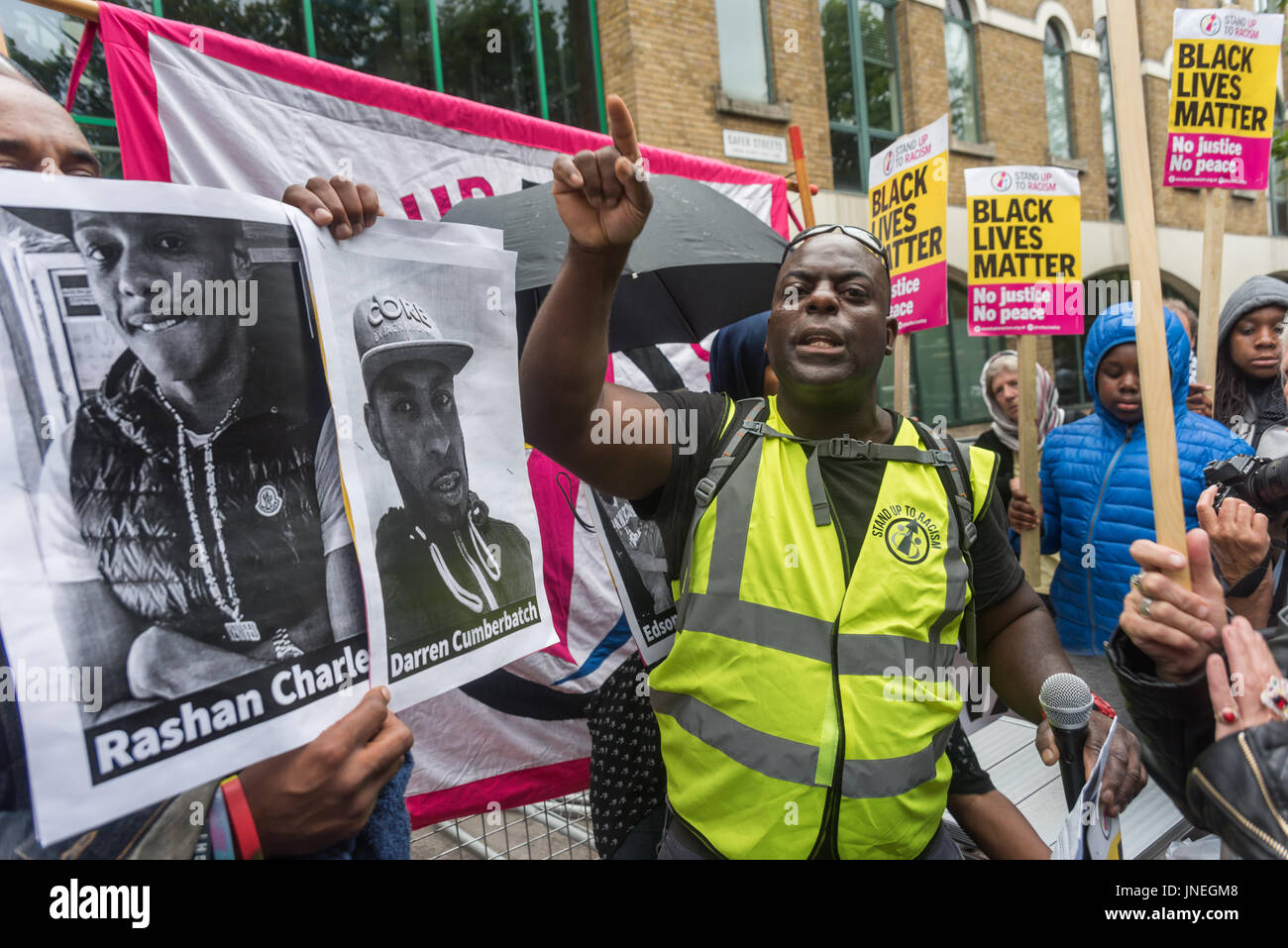 July 29, 2017 - London, UK - London, UK. 29th July 2017. Protesters at Stoke Newington Police Station for Rashan - Stock Image