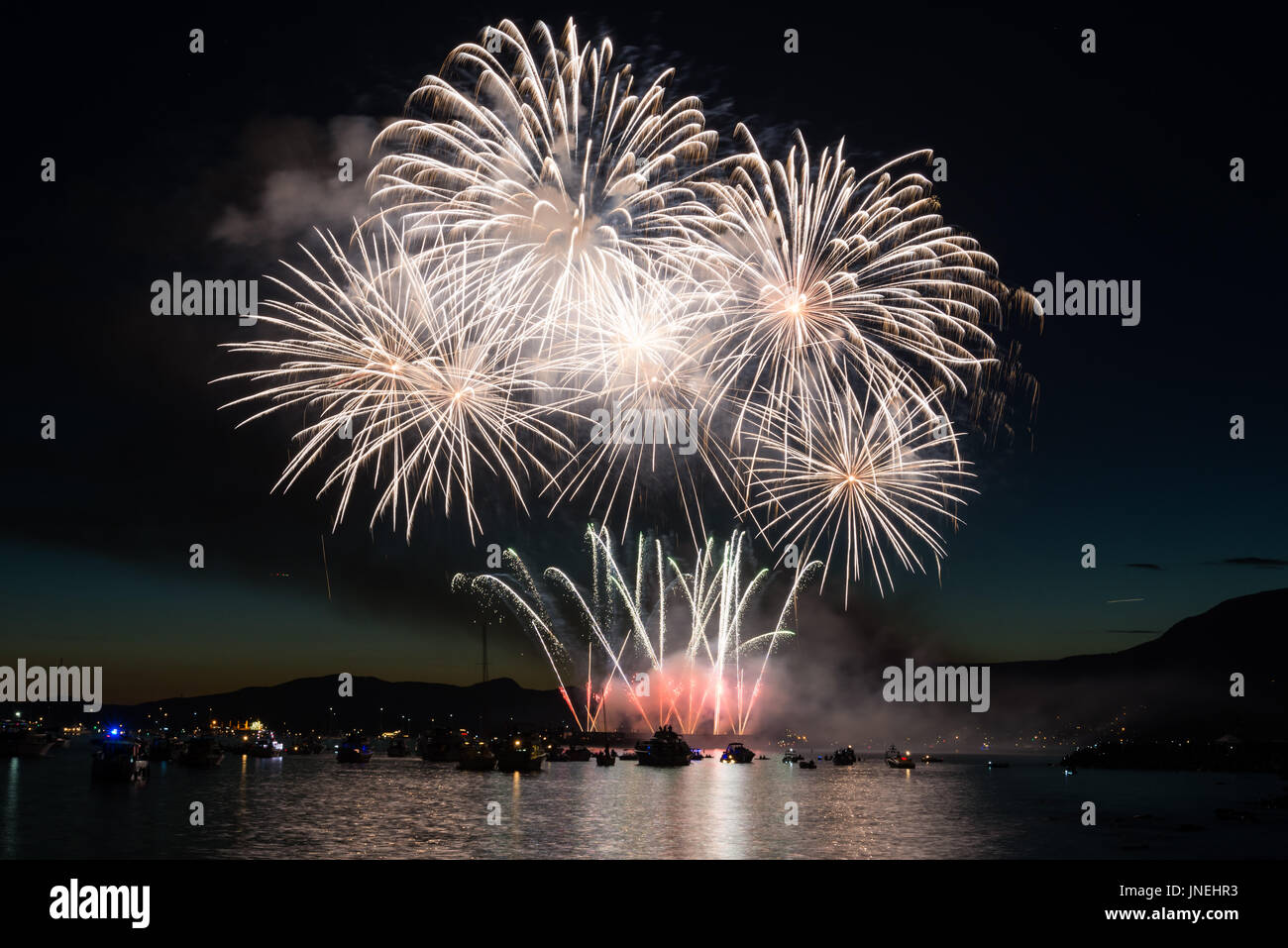 Vancouver, Canada. 29th July, 2017. Fireworks prepared by the country of Japan for BC's largest live event called Stock Photo