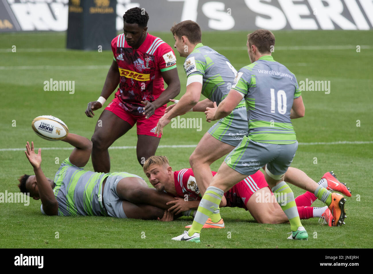 Northampton, UK. 29th July, 2017. The Harlequins  and Newcastle  Falcons Rugby 7 S Premiership Series at  Northampton Franklins Garden Credit: PATRICK ANTHONISZ/Alamy Live News - Stock Image