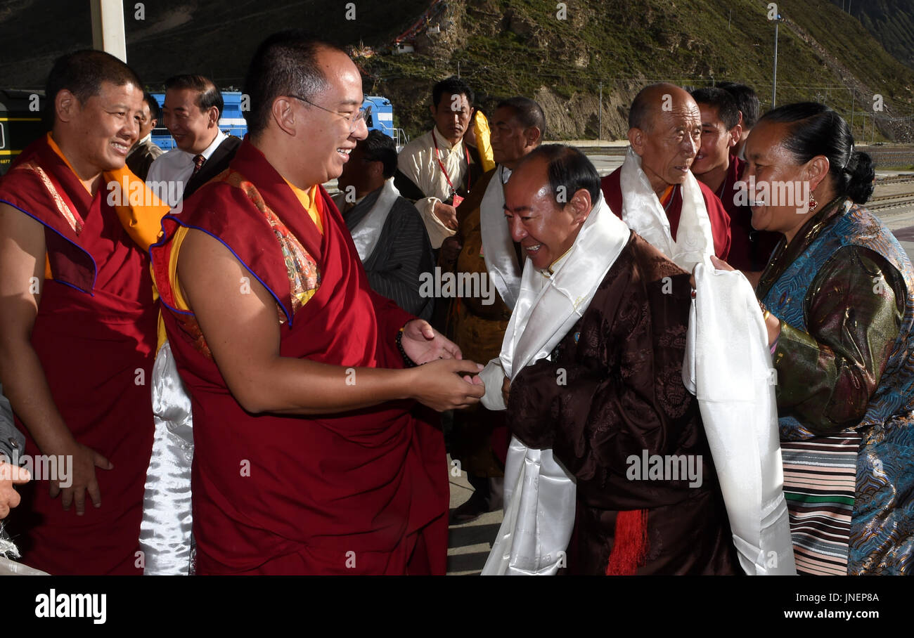 (170730) -- LHASA, July 30, 2017 (Xinhua) -- The 11th Panchen Lama Bainqen Erdini Qoigyijabu is welcomed upon arrival at the railway station in Lhasa, capital of southwest China's Tibet Autonomous Region, July 25, 2017. The Panchen Lama performed a series of Buddhist services in Lhasa over the past few days. (Xinhua/Chogo)(clq) - Stock Image
