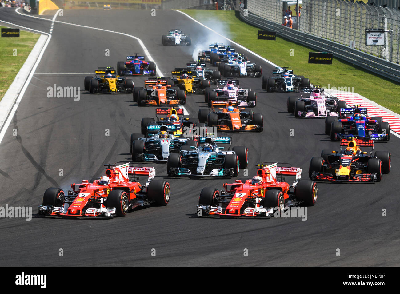 Mogyorod. 30th July, 2017. Photo shows a general view of the start of the Hungarian F1 Grand Prix race at Hungaroring in Mogyorod, Hungary on July 30, 2017. Credit: Jure Makovec/Xinhua/Alamy Live News - Stock Image