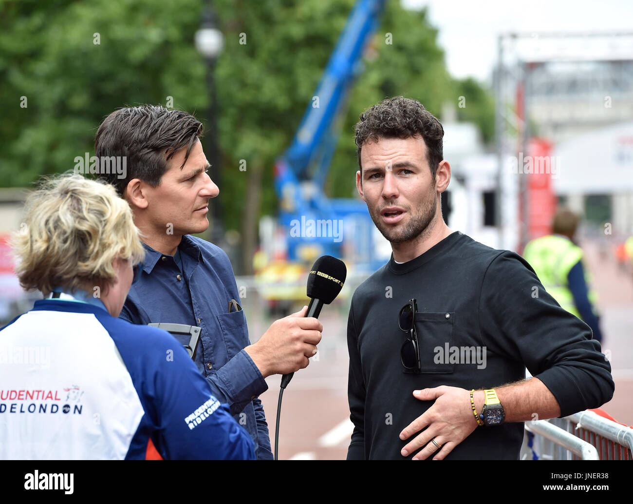London, UK. 30th July, 2017. Mark Cavendish gave interview to media at Prudential RideLondon Classic on Sunday, July 30, 2017, LONDON ENGLAND: Photo : Taka G Wu Credit: Taka Wu/Alamy Live News - Stock Image