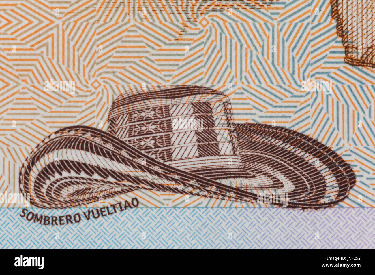 8321dd4b254 Traditional hat from Colombia  Sombrero vueltiao  on the twenty thousand  Colombian pesos bill -