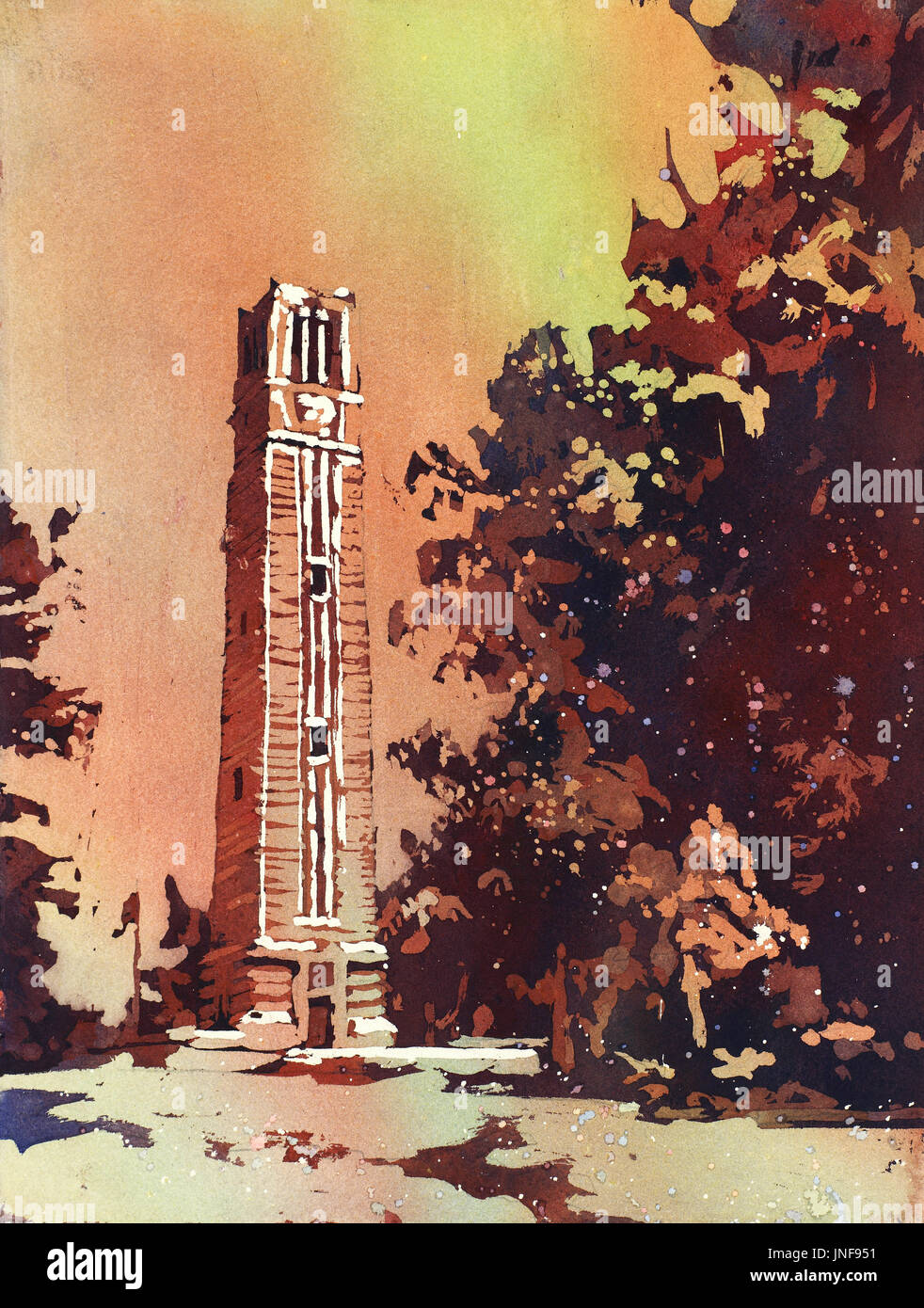 Watercolor painting of the North Carolina Statue University Bell-Tower in Raleigh, NC at dusk.  NCSU Bell-Tower at sunset in the city of Raleigh Stock Photo