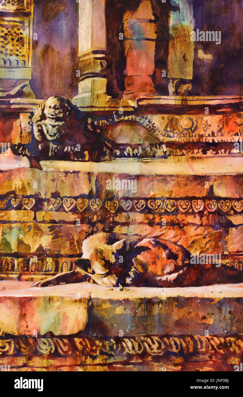Fine art watercolor painting of dog lying on Hindu temple in Durbar Square of Kathmandu, Nepal.  Kathmandu Valley architecture dog art - Stock Image