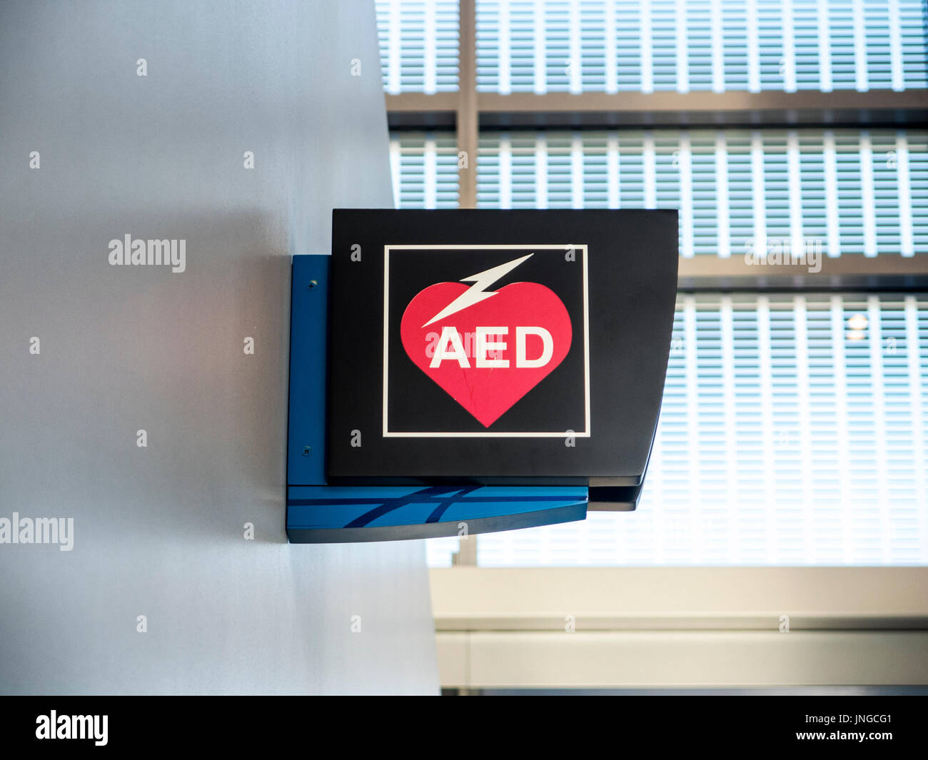 Automated External Defibrillator (AED)  signage - Stock Image