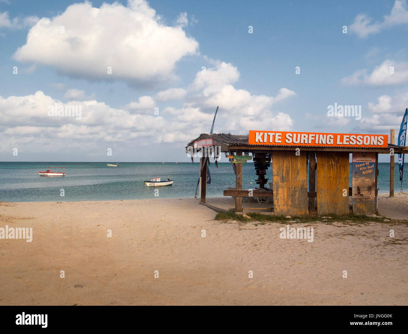 Kite surfing school. lessons hut on beach - Stock Image