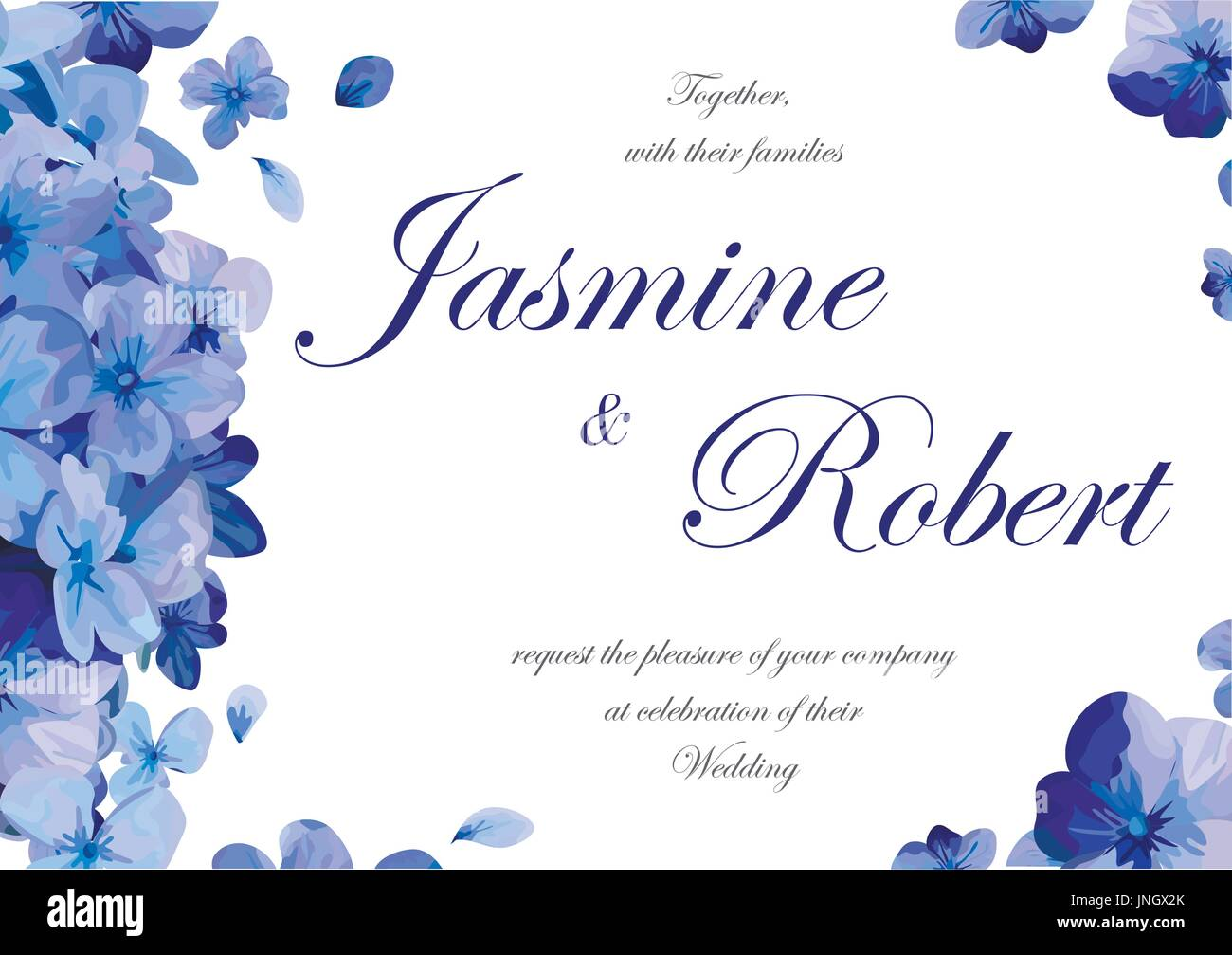 Wedding invitation flower invite card design with blue purple garden ...