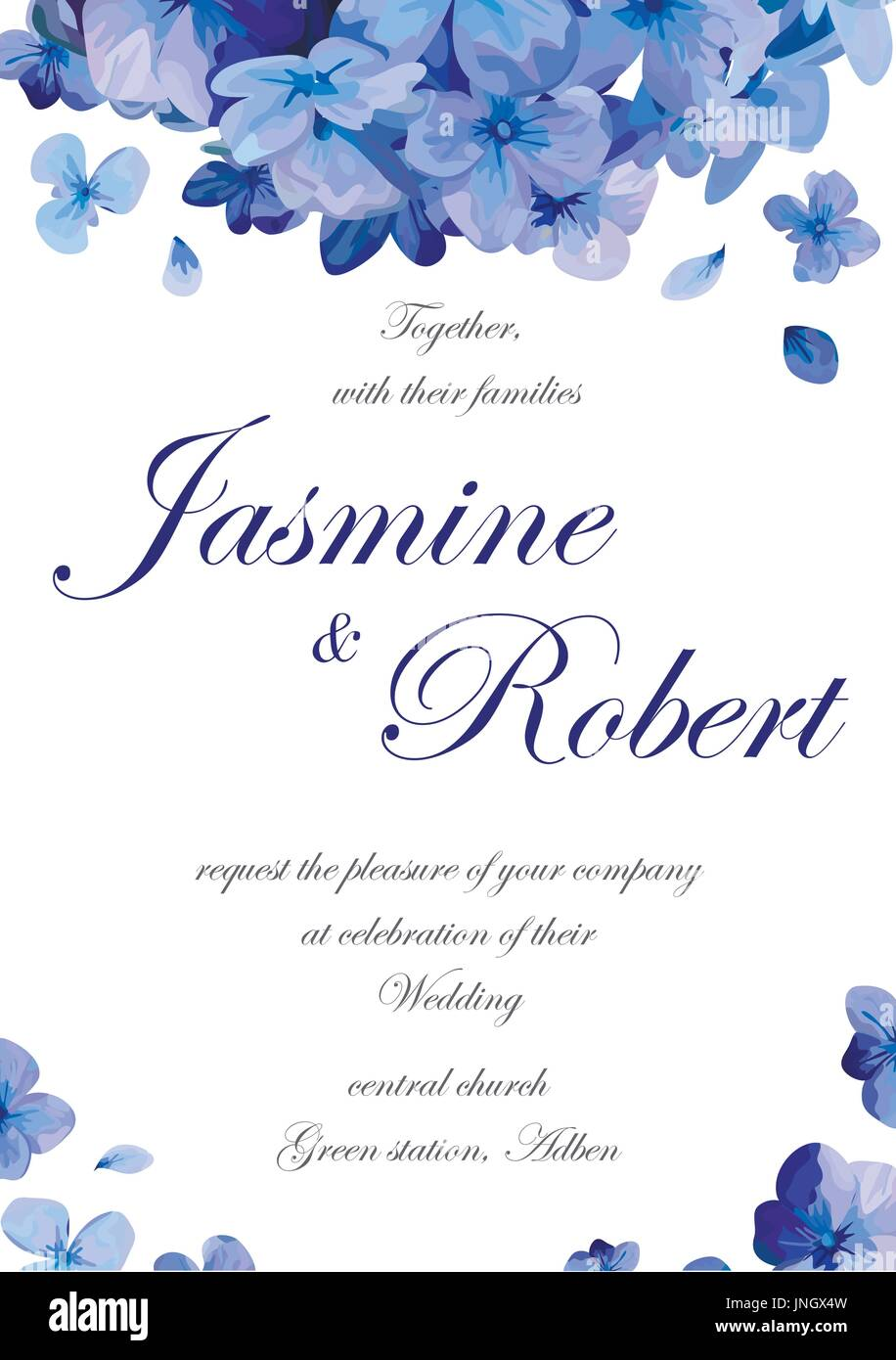 Wedding invitation flower invite card design with blue purple garden wedding invitation flower invite card design with blue purple garden hydrangea flower hortensia flowers romantic poster banner vector vertical anniv stopboris Images
