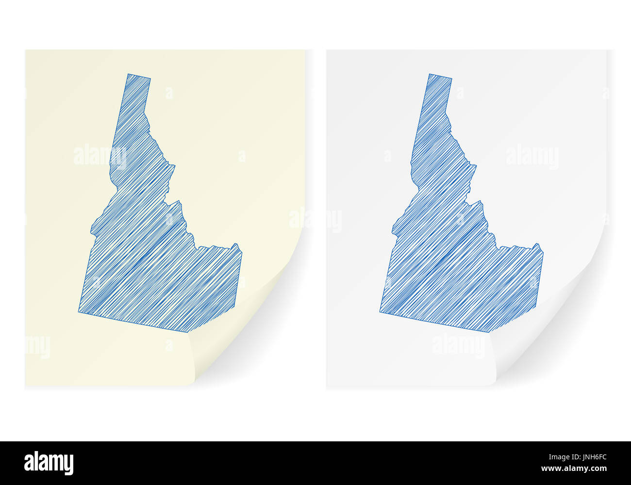 Idaho scribble map on a white background. - Stock Image