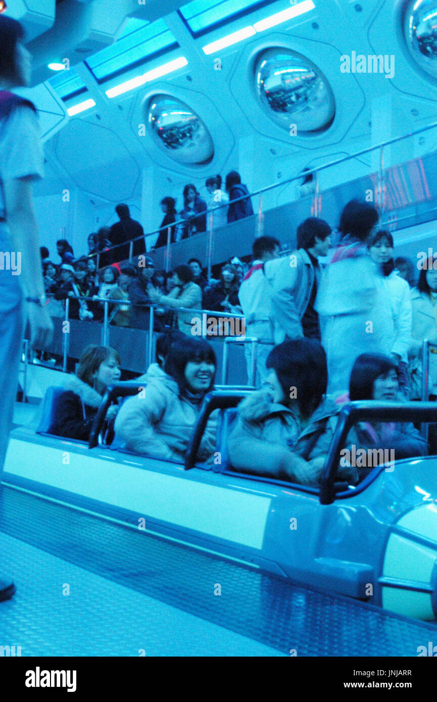 CHIBA, Japan - Visitors ride the ''Space Mountain'' roller