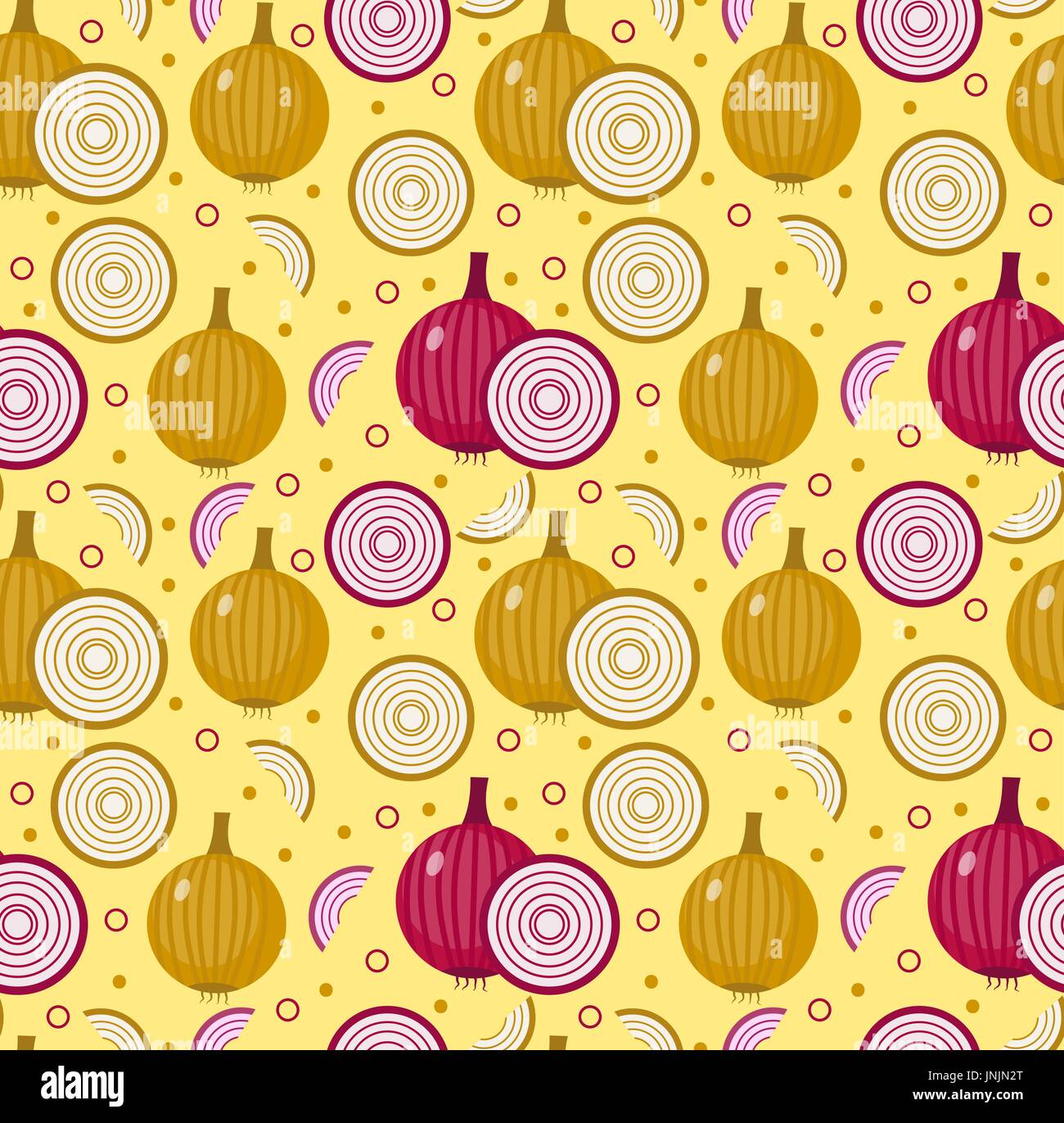 Onions seamless pattern. Bulb onion endless background, texture. Vegetable background. Vector illustration. - Stock Vector