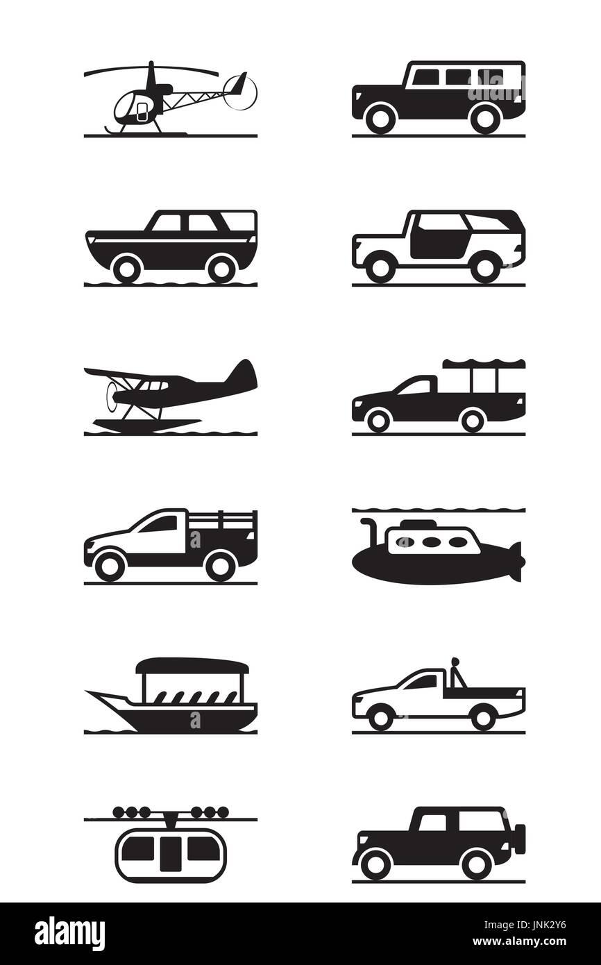 Safari and adventure vehicles  - vector illustration - Stock Image