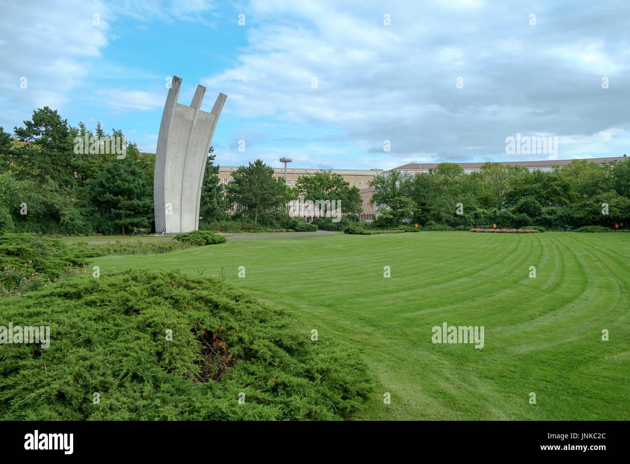 BERLIN, GERMANY / jULY 2017: Luftbruckendenkmal (Berlin Airlift Memorial) at the former Airport Tempelhof, Platz der Luftbrucke, Berlin, Germany. - Stock Image